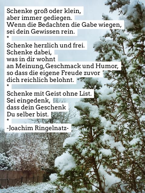 Winterlandschaft mit Winter-Gedicht von Joachim Ringelnatz über das Schenken