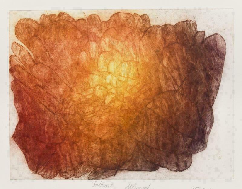 Das Bild ist in rötlichen Brauntönen, in der Mitte fast goldgelb. Es gleicht einem Block, der aus vielen verschiedenen Kristallen zusammengesetzt ist. Die Farbübergänge sind sehr sanft und die gemalten Strukturen filigran.