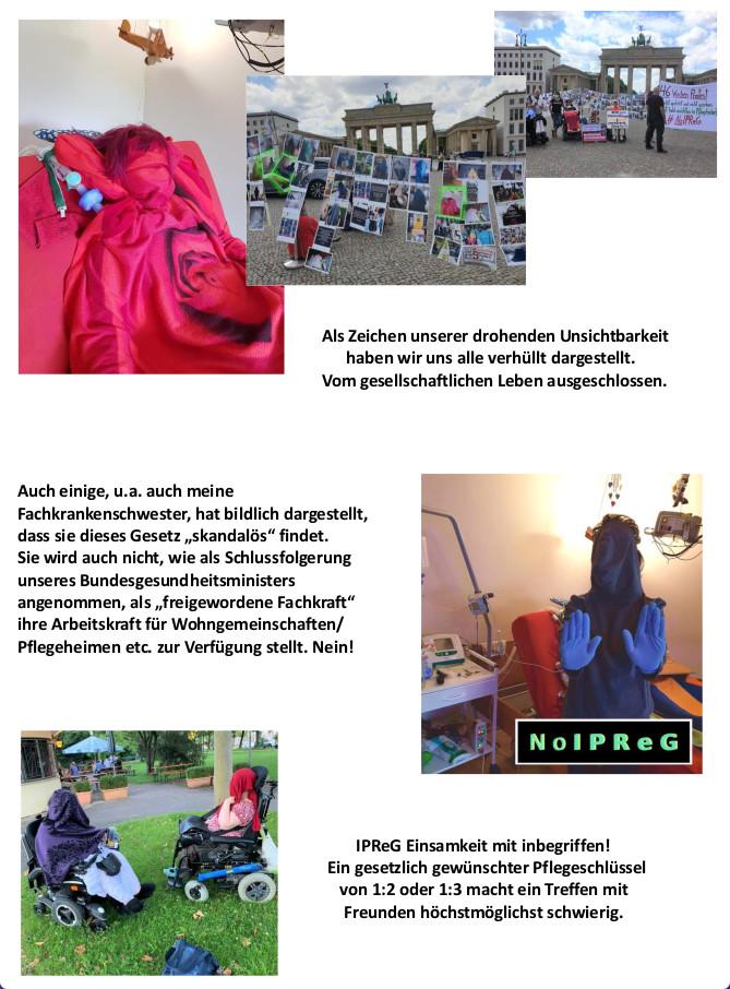 """Foto-Collage und Impressionen von der Protestaktion gegen IPreG in Berlin von Susie Kempa. Frauen mit Behinderung verhüllen sich in Stoffbahnen und werden somit für andere """"unsichtbar""""."""