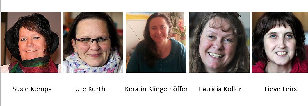 Bilder des neuen Sprecherinnen-Teams. Von links nach rechts: Susie Kempa, Ute Kurth, Kerstin Klingelhöffer, Patricia Koller, Lieve Leirs