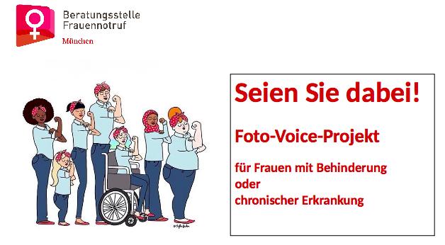 Titelbild des Projekts Foto-Voice. Frauen mit Behinderung und chronischer Erkrankung zeigen ihre Muskeln (am gebeugten Oberarm)