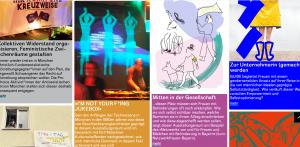 """Screenshot der Seite """"Feministisch-Verändern"""". Verschiedene Bilder von vorgestellten Projekten sind zu sehen: Kollektiven Widerstand organisieren, Feministische Zwischenräume gestalten; """"I'm not your f*ing Jukebox""""; Mitten in der Gesellschaft (Netzwerkfrauen-Bayern); Zur Unternehmerin (gemacht) werden."""