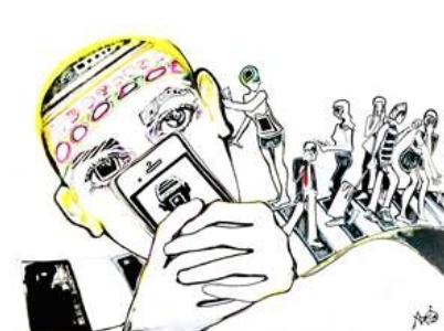 Ein Mensch starrt auf sein Smartphone. Es sind vom Gesicht nur die Augen zu sehen, ein Großteil ist von dem Gerät überdeckt. Im Hintergrund bewegen sich Menschen auf einer Art geschwungenem Zebrastreifen. Eine Person steht auf Höhe des Ohrs des Smartphone-Nutzers, als wollte sie Kontakt aufnehmen. Doch keiner wird erhört oder bemerkt.
