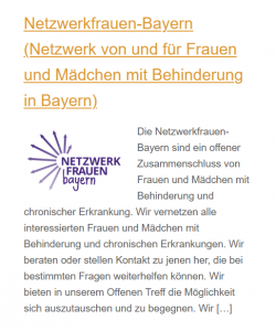 Screenshot Netzwerkfrauen-Auftritt bei der Inklusiven Familienbörse München 2021