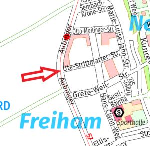 Straßenplan mit Pfeil, der auf die Ute-Strittmatter-Straße hinweist